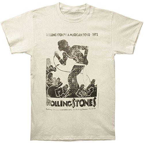 Rolling Stones Mens Vintage Tour Poster Vintage T-Shirt Ivory
