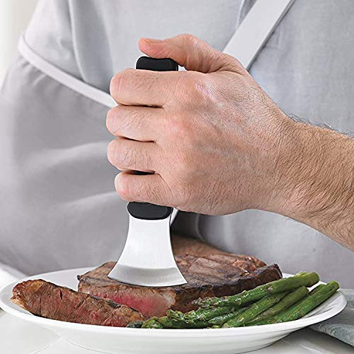 DMI Verti-Grip Curved Cutting Kitchen and Dinner Knife for Individuals with Limited Hand Strength, Steak Knife, Dishwasher Safe, Stainless Steel Blade