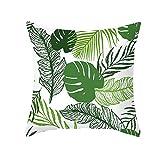 KnBoB Funda Cojin 40 x 40 cm Hoja de Palma de Monstera Poliéster Verde Blanco Estilo 10