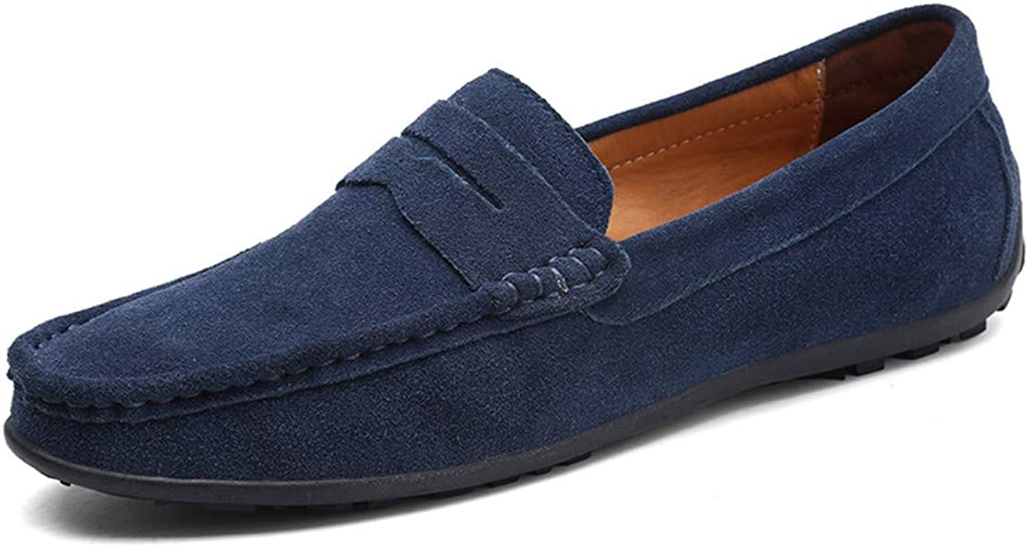 Men Casual shoes Leisure Moccasins Slip On Fashion Male shoes Suede Leather Men bluee 6.5 M US