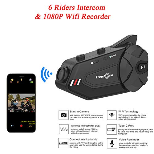 Find Discount Motorcycle Bluetooth Headset Group, with HD Camera WiFi Recorder Noise Cancellation Motorcycle Communication System, for Motocross Motor Bike Skiing, Up to 6 Riders for Motorbike Skiing