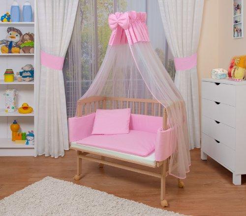 WALDIN Lit cododo berceau tout équipé pour bébé,bois non traité,16 modèles disponibles,Surface de couchage extra large : L 90 x l 55,couleur du textile rose/blanc
