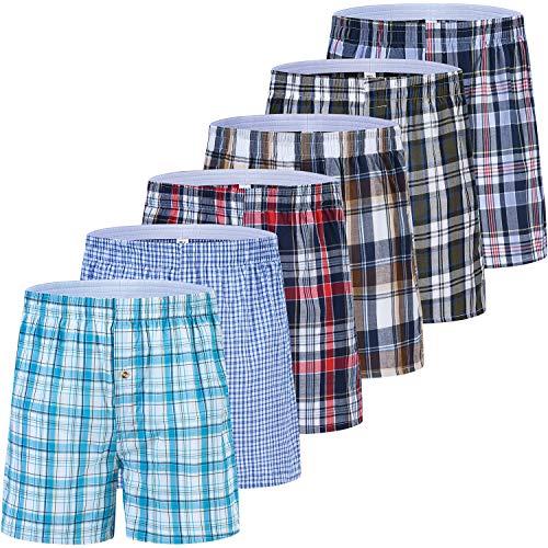 JINSHI Herren American Boxershorts Lang Trunks Unterhosen Passform Baumwolle Unterwäsche Eingriff mit Knopf 6er Pack 3XL