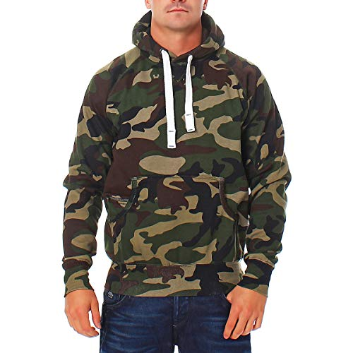 Happy Clothing Herren Pullover Camouflage Hoodie Grün Kapuzenpullover Pulli mit Kapuze, Größe:S, Farbe:Grün