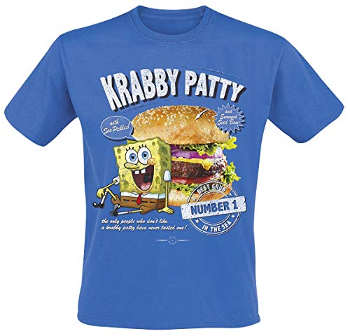 Camiseta Bob Esponja Hombre Krabby Patty Burger Algodón Azul - XXL