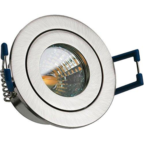 IP44 LED Mini Einbaustrahler Set in Silber gebürstet mit LED MR11 / GU5.3 Strahler von LEDANDO - 2W - 160lm - warmweiss - 60° Abstrahlwinkel - 20W Ersatz - Bad/Dusche - Terrassendach - Wintergarten
