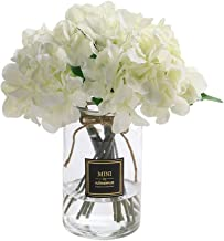 Veryhome Hydrangea Artificial Silk Fake Flower Bunch Bouquet Arrangements for Home Wedding Garden Floral Decor Pack of One (White)