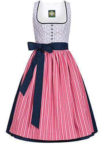 Hammerschmid Damen Trachten-Mode Midi Dirndl Schliersee in Grau traditionell, Größe:42, Farbe:Grau