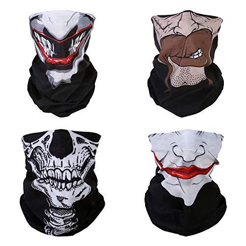 WLS 4 Stück Multifunktionstuch Gesichtsmaske Motorradmaske Sturmmaske Maske für Motorrad Ski Snowboard Snowboard Paintball Fahrrad Bergsteigen Trekking Skateboarden Angeln Skull Gesicht