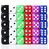 ODSPTER 30 Pack Solid 6-Sided Game Dice 5 Sets 6 Colours Spot Dice Set for Board Games & Teaching Math Dice Set Classroom Accessories