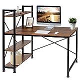 VECELO Computer Office Desk/Multipurpose Study Table H Shape with 4 Tier Bookshelves, Brown