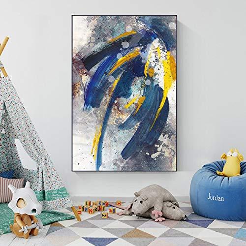 wZUN Carteles Abstractos e Impresiones Pintura al óleo impresión en Lienzo Cuadros de Pared de Arte Azul para Sala de Estar decoración del hogar 60x90 Sin Marco