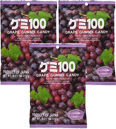 Kasugai Grape Gummy Candy 3.77oz (3 Pack)