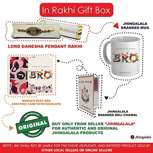 Jhingalala Raksha Bandhan Gifts Pack for Brother (Lord Ganesha Designed Pendant Rakhi, Printed Coffee Mug, World's Best Bro Raksha Bandhan Greeting... 6