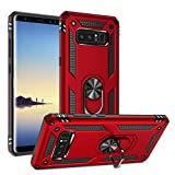 Galaxy Note 8 Case Military Grade Drop Impact Tested Armor 360 Metal Rotating Ring Kickstand Holder Built-in Car Mount Silicone TPU Shockproof Anti-Scratch Full Body Protective Cover for Note 8(Red)