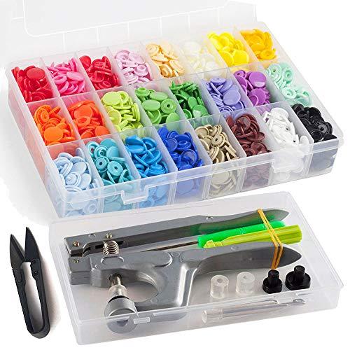 Kam Druckknöpfe mit Snaps Zange, 360 Set T5 Kam Druckknopf in 24 Farben Für DIY Basteln