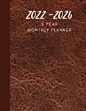 2022 – 2026 5 year monthly planner – Calendar Notebook Large – Month at a glance – 60 Months planning – Birthday Log – Appointment Organizer – Brown Leather Print Cover