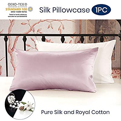 LilySilk 100 Pure Mulberry Silk Pillowcase Cover for Hair with Cotton Underside Charmeuse Hypoallergenic 1pc Standard 50x75 cm 19 Momme from LilySilk