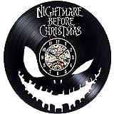 AMYZ Reloj de Pared con Disco de Vinilo de Pesadilla navideña,Reloj de Pared de Estilo Retro Creativo,F
