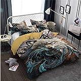 weilaike Black Raven and Wolf Dreamcatcher Bedding Duvet Cover Set Soft 3 Pieces Duvet Cover Comforter Cover Pillowcases for Bedroom-California_King_