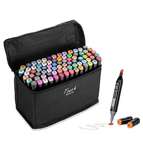 80 Colors Marker Pens Dual Tips Permanent Art Markers, Brush & Chisel Art Markers Permanent Markers for Adults Kids Coloring Drawing Sketching with Carrying Case