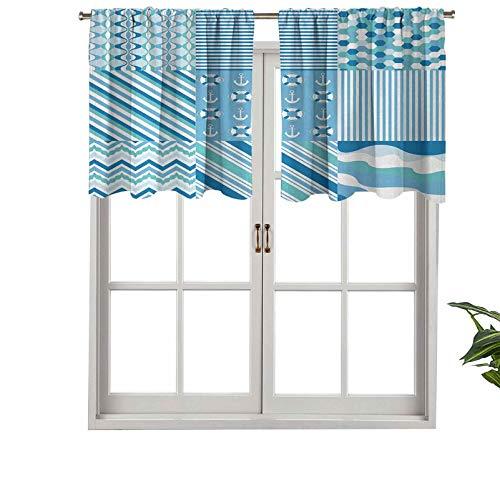 Hiiiman Blackout Curtain Valances Anti-UV Zig Zag Chevron Wavy Anchor Life Belt Geometric, Set of 2, 42'x36' for Indoor Dining Room Bedroom