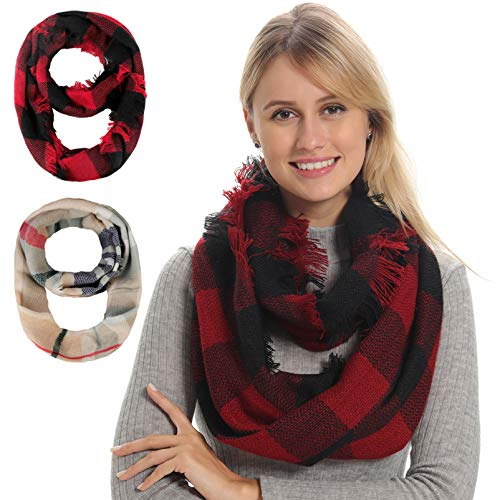 Women Plaid Infinity Scarf for Winter Fall, Thick Warm Soft Wool Feel, Knit Cashmere Feeling Ladies Loop Scarfs