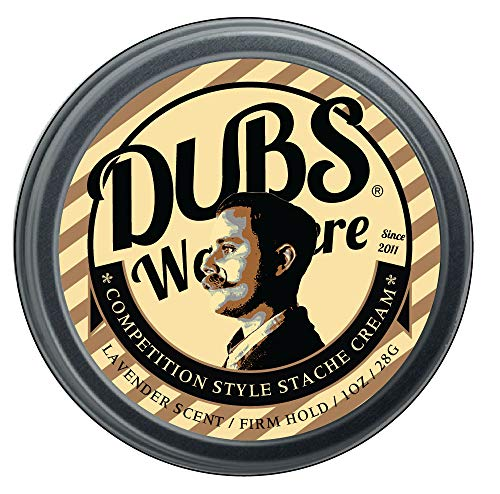 Dubs Was Here 'Firm' Stache Cream, 1ounce screw top Tin - Competition style Moustache Wax Original Lavender scent