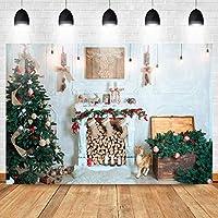 GooEoo 10x7ft クリスマスの背景クリスマスツリーの暖炉のストッキングトナカイレパーティーの装飾バナー用品クリスマス屋内肖像画の背景シャワーの装飾ビニール素材