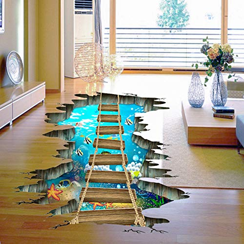 3D Floor Stickers,Underwater Sea World Starfish Colorful Fishes Removable Love Ocean Cute Wooden Suspension Bridge PVC Art Wall Decal ,Sensory Room Decorations for Boys & Girls