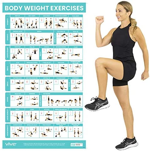 Vive Body Weight Workout Poster Bodyweight Exercises For Home Gym Laminated Hitt Chart For Abs product image