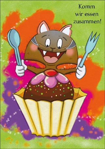 Onbekend in 5-delige set: Coole tiener uitnodigingskaart met brutale hongerige kat: komen we eten samen.