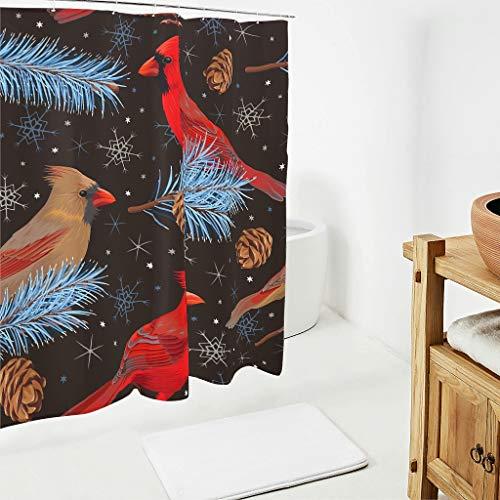 BOBONC Douchegordijnen met rode spatten, kleurvast, hoogwaardige kwaliteit, douchegordijn, rode vogel, badkuipgordijn van polyester