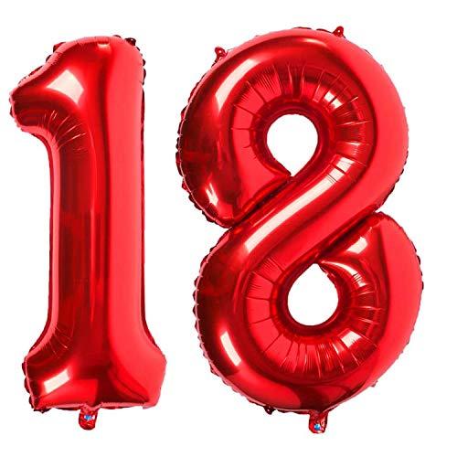 Ouinne Globo 18 Años, 40 Pulgadas Globo del Cumpleaños Número 18 Helio Globos para La Decoración Boda Aniversario (Red)