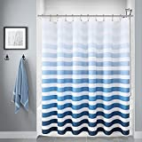 Ombre Fabric Shower Curtain, Blue Stripe Polyester Fabric Shower Curtains with 12 Hooks, Decorative Shower Curtain Set for Bathroom Hotel Quality, Waterproof Shower Curtain Liner, 72 X 72 Inches