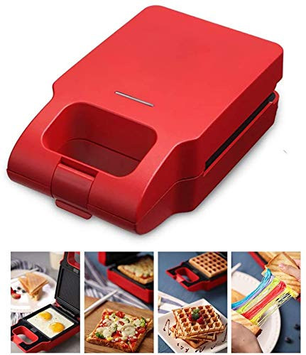 Waffle Maker Sandwich Broodrooster 2 in 1, Anti-aanbaklaag Plate Cooks Delicious,Red