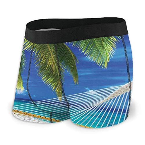 Hängematte am Sandstrand zwischen Palm Coconut mit Blick auf Sea Nature Art Herren Boxershorts M.