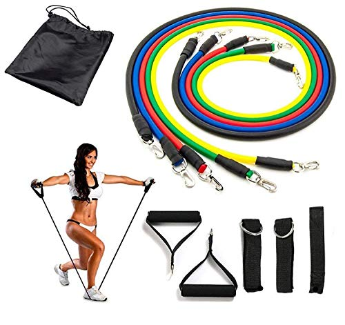 Latex Stackable Resistance Bands Set Yoga Exercise Fitness Band Rubber Loop Tube Bands with Door Anchor, Ankle Straps, Handles with Bag Kit