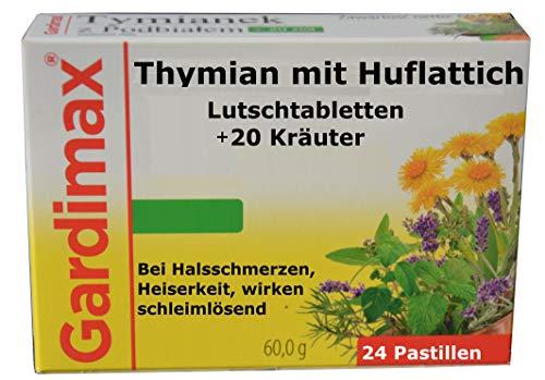 Lutschtabletten, Thymian, Huflattich plus 20 Kräuter Extrakte, bronchien entkrampfend, schleimlöser, antibakteriell, 24 St, bei Erkältung, Halsschmerzen, hustensaft, hustenstiller, hustenlöser