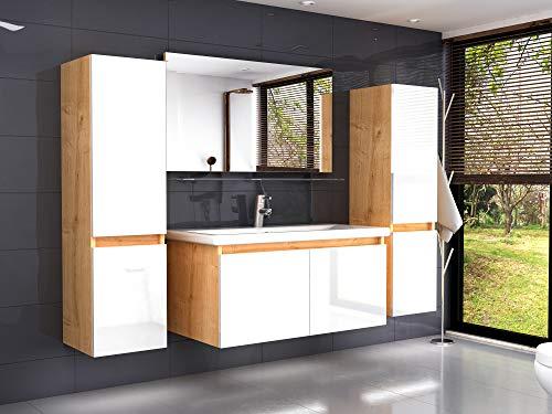 Badmöbel Set Eiche Artizan Weiss Hochglanz Badezimmermöbel 90 cm