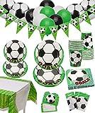 Decorazioni per Feste di Calcio - Articoli per Feste di Compleanno a Tema Football per Bambini, Inclusi Piatti, Tazze, Tovaglioli, Tovaglie, Striscioni e Palloncini, per 12 Persone