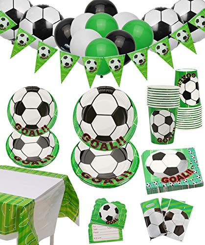 Decoraciones de Fiesta de fútbol - Paquete de Fiesta de Cumpleaños con Tema de Football para Niños, Que Incluye Platos, Tazas, Servilletas, Mantel, Pancarta y Globos, para 12 Personas