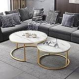 Mesa de centro de mármol, mesa nido, mesa central, mesa decorativa, mesa de diálogo, sala de estar/dormitorio/estudio/mesa redonda de oficina/A / 80cm