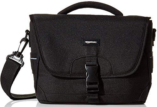 Amazon Basics - Bolsa bandolera para cámaras DSLR y accesorios (tamaño mediano, interior de color naranja), color negro