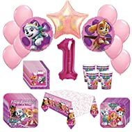 Girl Pups Paw Patrol Skye & Everest 1st Birthday Party Pack 52pc