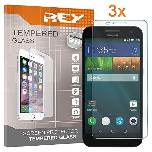 REY 3X Protector de Pantalla para Huawei Ascend G7, Cristal Vidrio Templado Premium