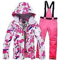 YABAISHI 女性スキースーツスキージャケットパンツ女性防水防風スノーボードコートとズボン冬スキースーツ (Color : 1, Size : L)