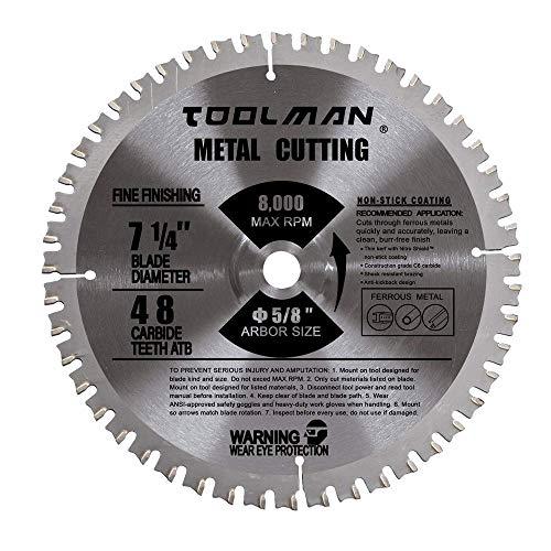 "Toolman Premium Multifunctional Carbide-Tipped Circular Saw Blade Universal Fit 7-1/4"" 48T 5/8"" Arbor Table Miter Cutting for Metal Cutting STH004"