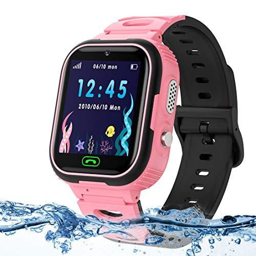 LUKYBIRDS Kids Smartwatch para Niños LBS Tracker Reloj Inteligente Resistente al Agua Reloj niña de 3-12 años con SOS Juego de Pantalla táctil para Regalo de cumpleaños para niños(Rosa)