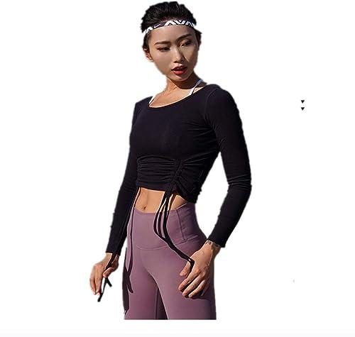 DAGUAISHOU Sports Top Rose Tops D'entraînement pour Femmes Yoga Crop Top Chemises Sangle Taille Slim Sport Shirt Chemises à Manches Longues Workout Top Vêtements De Sport